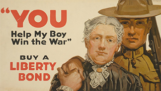 Vintage war poster reads YOU help my boy win the war, buy a liberty bond