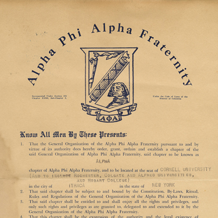Document of foundation for Alpha Phi Alpha fraternity
