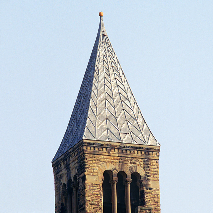 Pumpkin atop spire of McGraw Tower