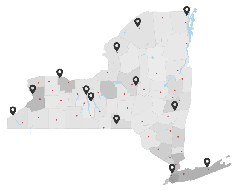 New York State Map with Cornell Cooperative Extensions