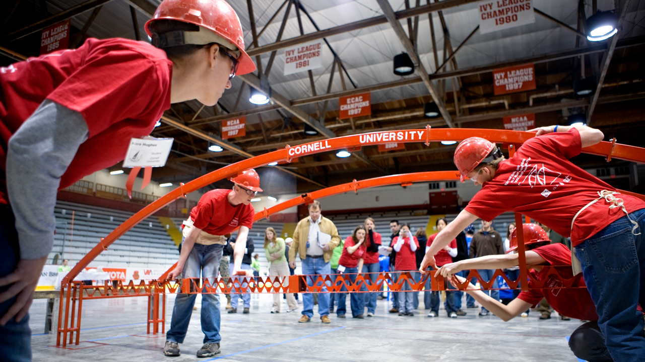 team competes in the steel bridge competition