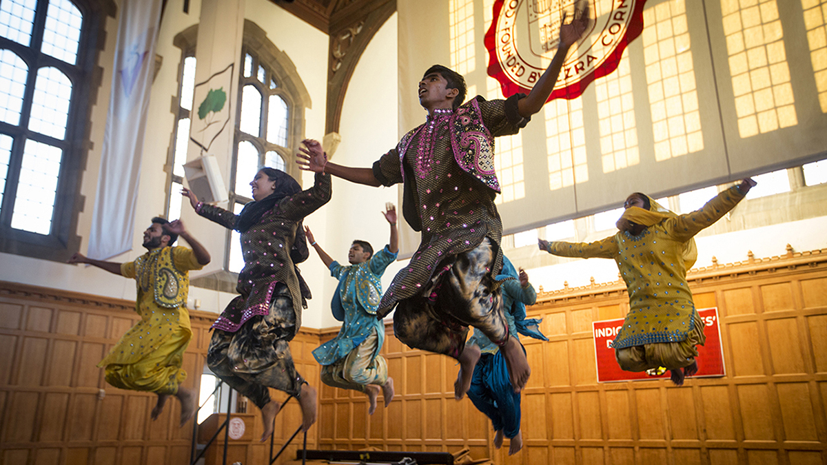 Cornell Bhangra performs during the Indigenous Peoples' Day Celebration in Willard Straight Hall