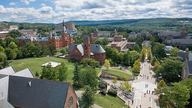 View of Ho Plaza looking south from atop McGraw Tower