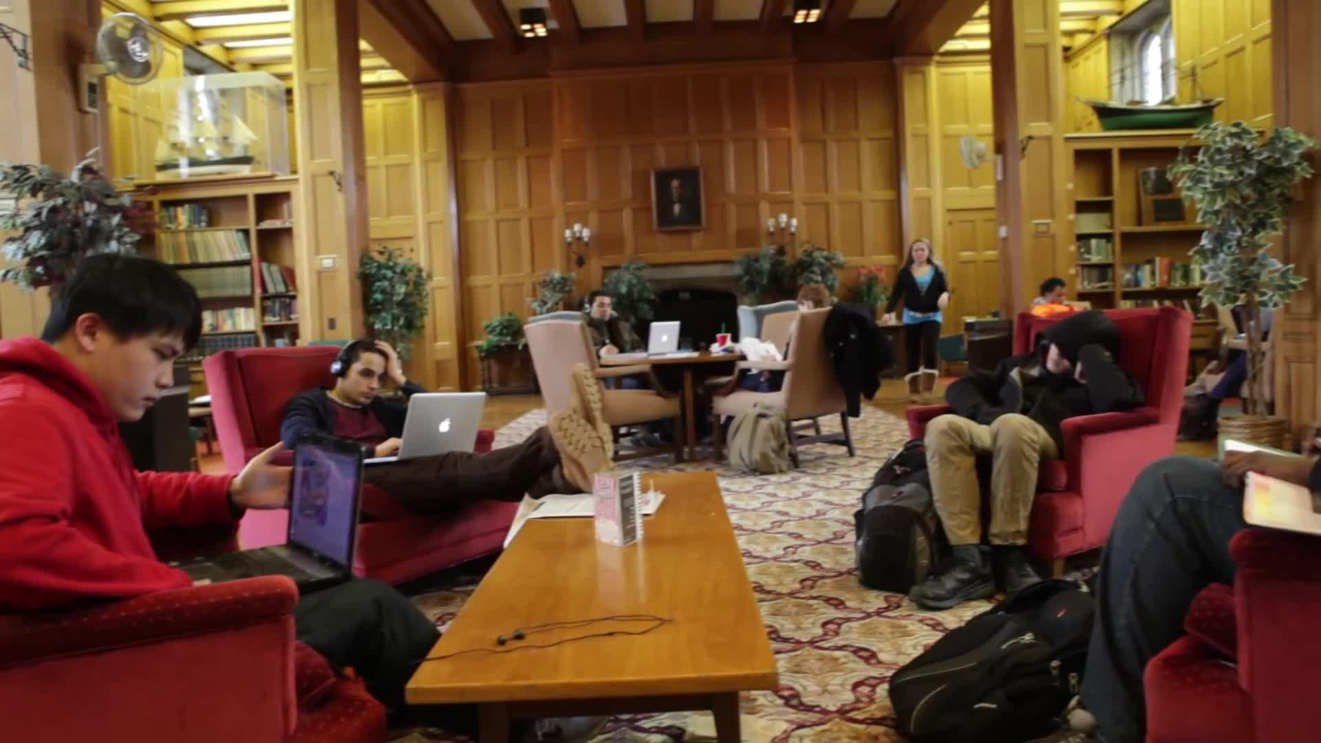 Photo of a reading room in Willard Straight Hall